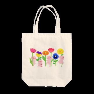 はだかんぼうのコブタたちのブタとお花 トートバッグ