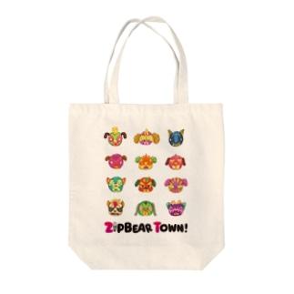 ZipBearTownのプルドック ルチャマスク Tote bags