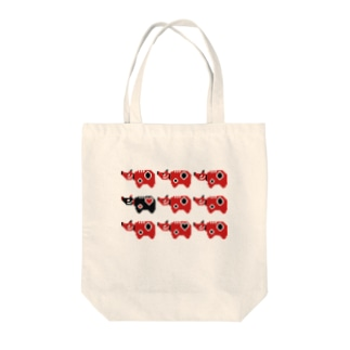 赤べこドット軍団 Tote bags