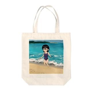 スクール水着浜辺 Tote bags