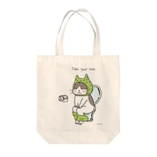 といれねこ 緑色 Tote bags