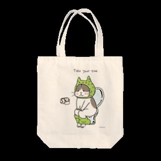 ほっかむねこ屋@9/3−9 東急ハンズ池袋1Fのといれねこ 緑色 トートバッグ