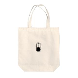 フレンチプレスコーヒー Tote bags