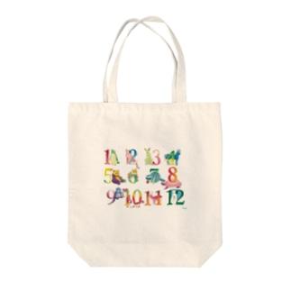 12の月の動物たち Tote bags