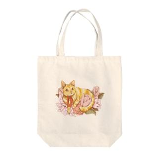 猫とお花 トートバッグ