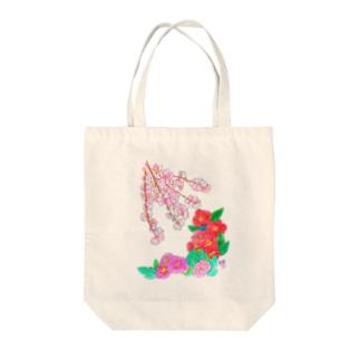 桜と椿と牡丹 タテ Tote bags