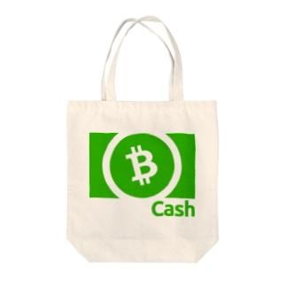 ビットコインキャッシュ(文字白) Tote bags