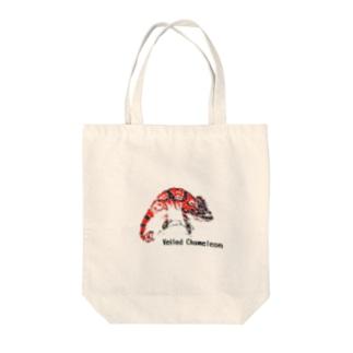 シルクスクリーン 【エボシカメレオン】レッド Tote bags