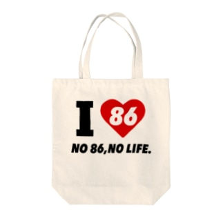 I LOVE 86【Red Accent】 Tote bags