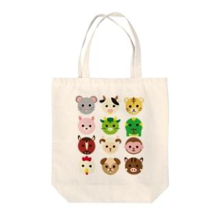 干支丸-十二支-animal up-アニマルアップ- Tote bags