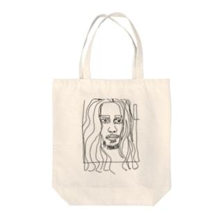 落書きアートフェイスプリント Tote bags