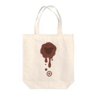 チョコ好きさんへ♪【ミルクチョコ】healing-honey蝋封風ロゴモチーフ Tote bags