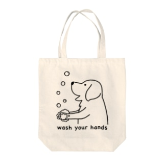 wash hands Tote bags