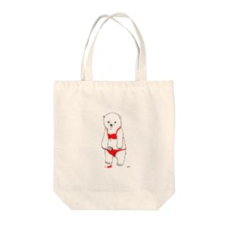 らくがきしろくま(ビキニver.) Tote bags
