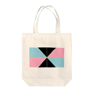 ピンク水色横 Tote bags