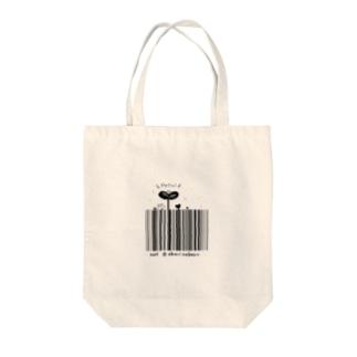 Hello!バーコード Tote bags