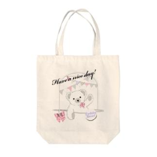 Girly Bear Tote bags