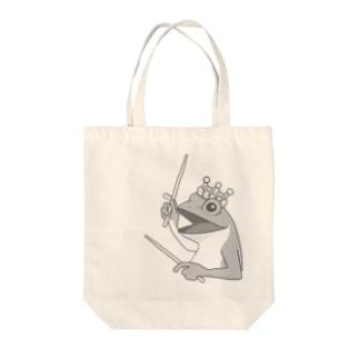 カエルとドラム Tote bags