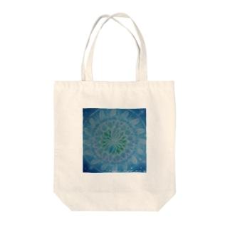 蒼のチューリップ曼荼羅 fuwari_flower_mill Tote bags
