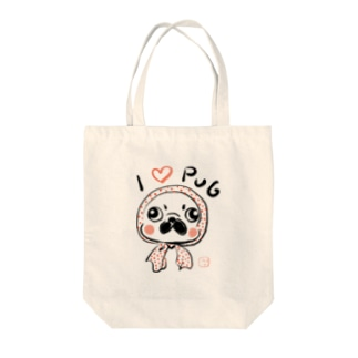 ほっかむりパグ Tote bags
