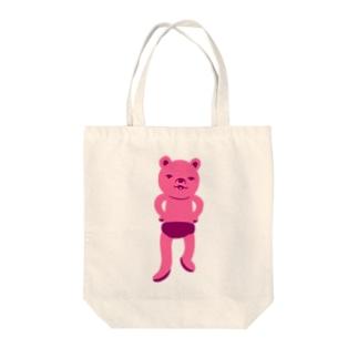 潔い姿の熊(ピンク) トートバッグ