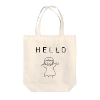HELLO世界 Tote bags