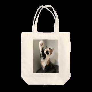 ネコまにあ 【12匹の猫➕うずら】の三毛猫 あんず上段突き Tote bags