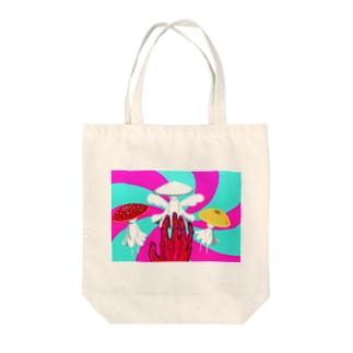 マッシュルーム・ダンス Tote bags