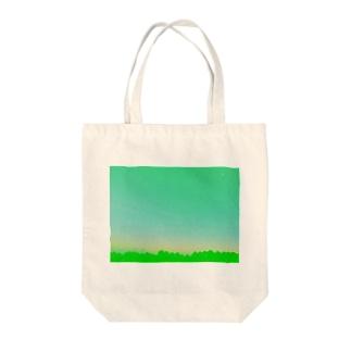 green sky sea Tote bags