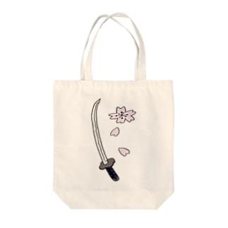 日本刀と桜 Tote bags