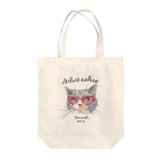 ダイリュートキャリコ猫めがね Tote bags
