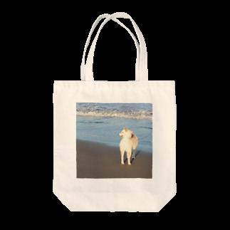 y.shioriの白柴シロと海 Tote bags
