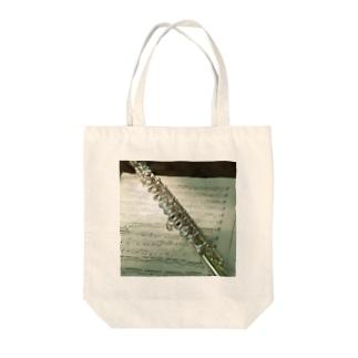 フルートと楽譜 Tote bags