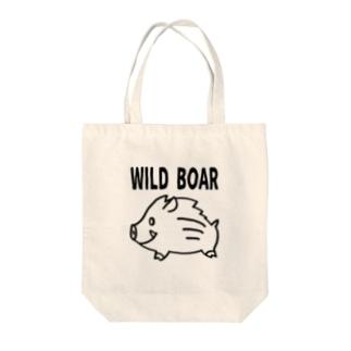 「WILD BOAR」(黒線) Tote bags