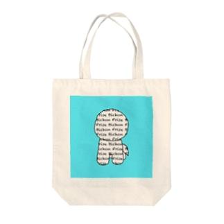 ロゴビション ホワイト&ブルー Tote bags