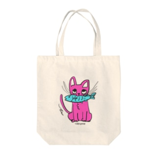 お魚くわえたピンクニャーンコ Tote bags