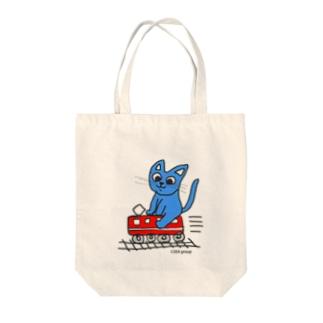 赤電のりてつニャーンコ Tote bags