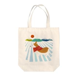 コーギー 日の出 Tote bags