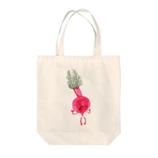 赤カブかぶり Tote bags