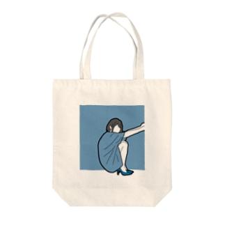 さんかくすわり Tote bags