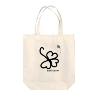 Triple Heart Tote bags