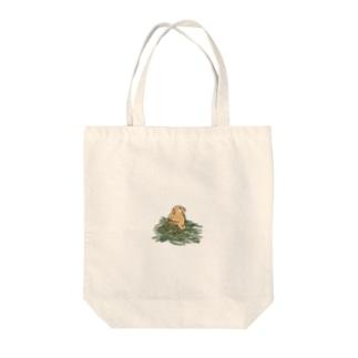 チモシーに埋もれるうさぎさん オレンジロップ Tote bags