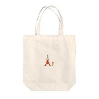 東京タワーとえび天くん Tote bags