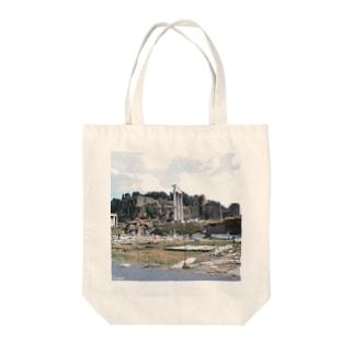 イタリア:フォロ・ロマーノのカストルとポルックス神殿が見える風景写真 Italy: view of Foro Romano (Tempio dei Dioscuri) Tote bags