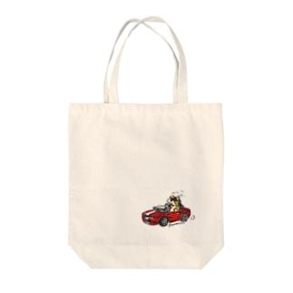 わるそうなネコ オープンカー Tote bags