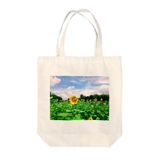 ひまわり畑と五重塔1 Tote bags