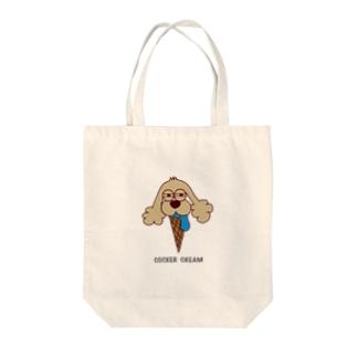 COCKER CREAM Tote bags