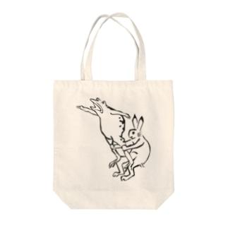 鳥獣戯画現代版 組体操 Tote bags