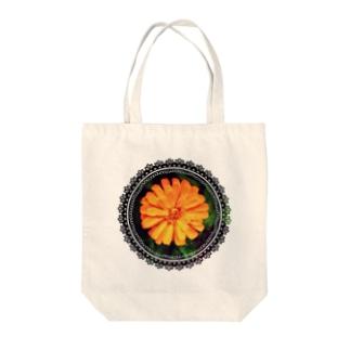 おれんじふらわー(レース) Tote bags