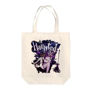 HAUNTED ハロウィンお化けと魔女の黒椅子 トートバッグ